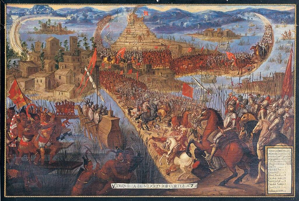 завоевание Мексики. Изображает падение Теночтитлана в 1521 году во время испанского завоевания империи ацтеков.