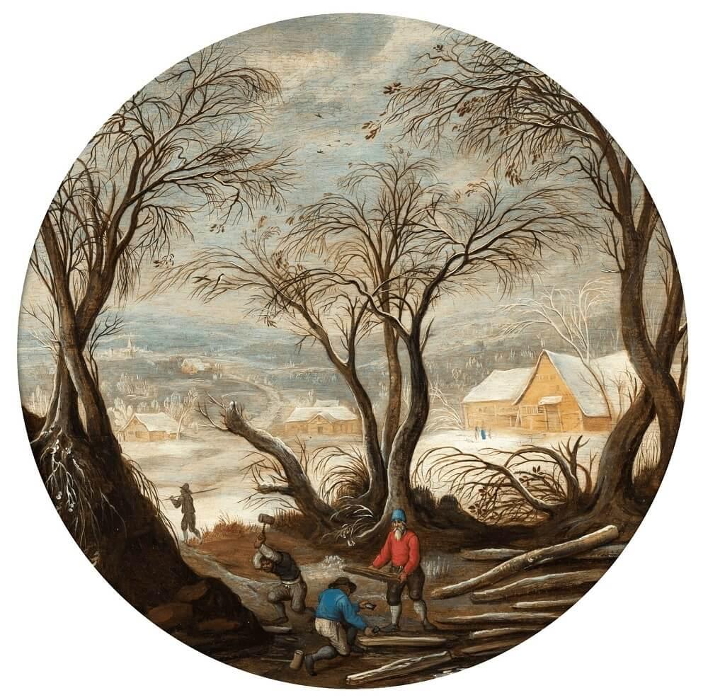 Абель Гриммер «Зимний пейзаж с лесорубами», 1570 год Частное собрание