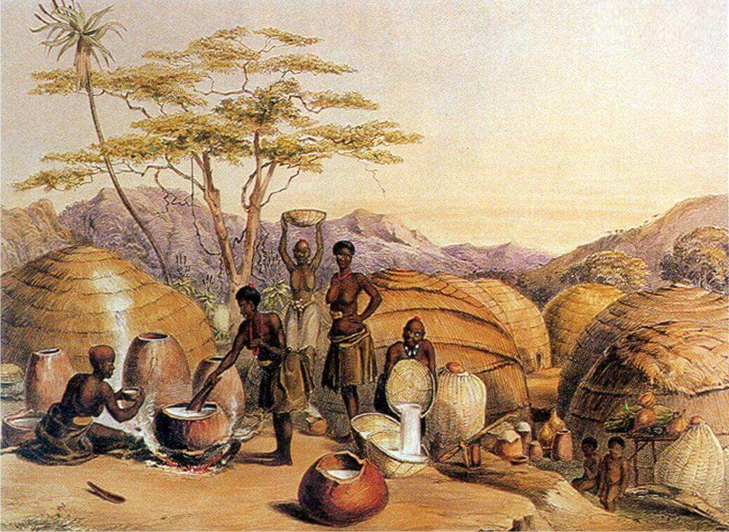 Зулусские женщины заняты варкой пива