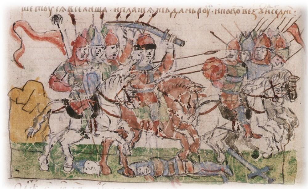 Битва воеводы Волчий Хвост с радимичами в 984 год из Радзивилловской летописи
