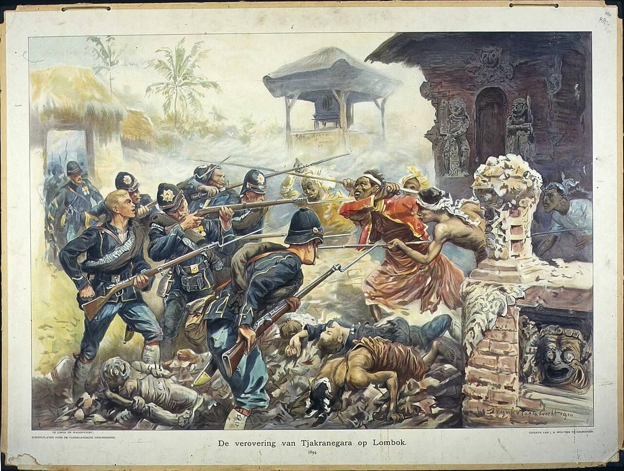 Бой голландских солдат с повстанцами в Индонезии