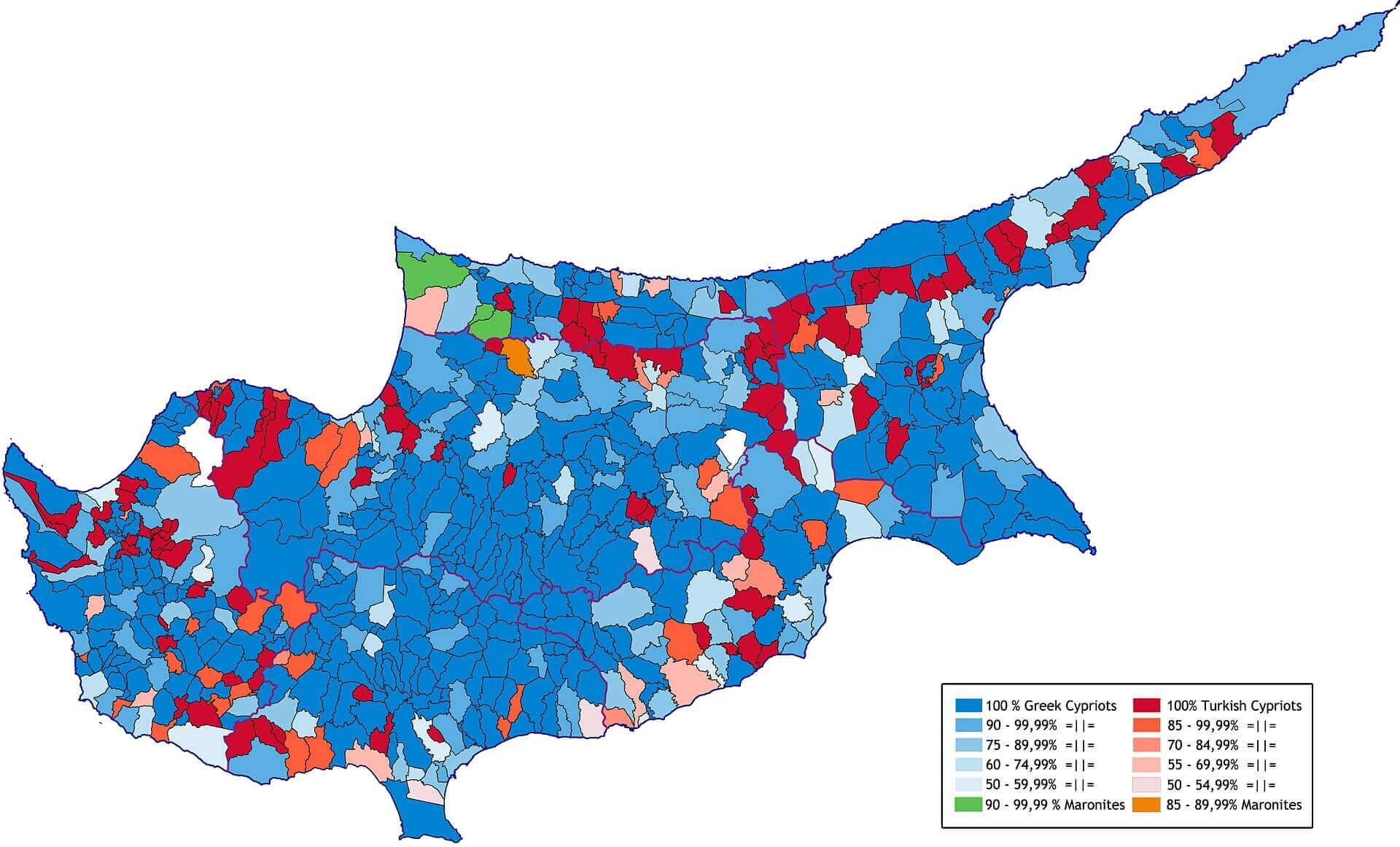 Этнический состав Кипра по общинам по переписи 1960 года