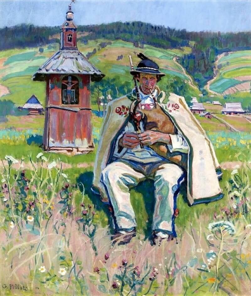 Густав Пиллати «Портрет этнического горца Гураля с волынкой в Малой Польше», начало XX века