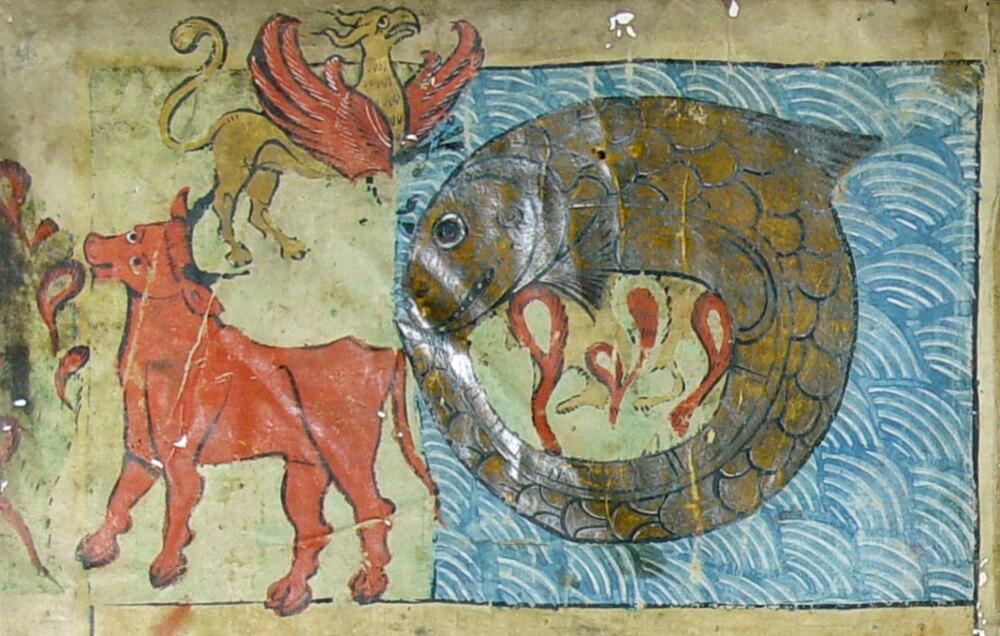 Левиафан-морское чудовище, Бегемот-наземное чудовище и Зиз-воздушное чудовище.