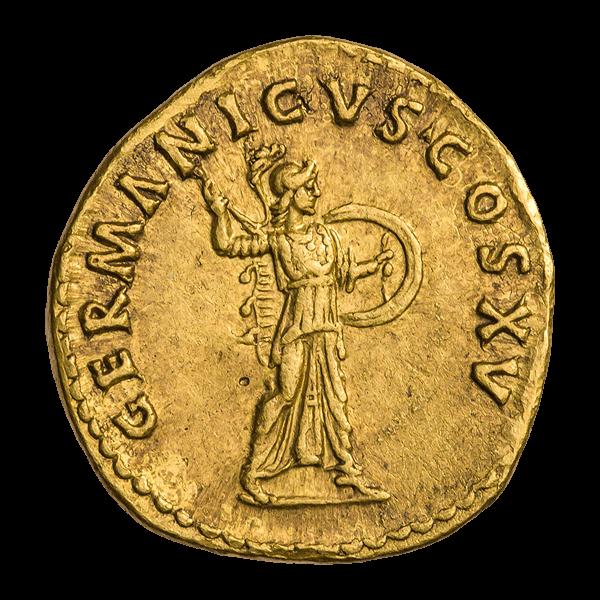 Минерва на реверсе ауреуса Домициана 90—91 года