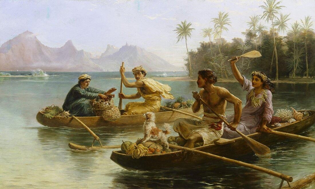 Николас Шевалье «Поездка на рынок, Таити», 1880 год