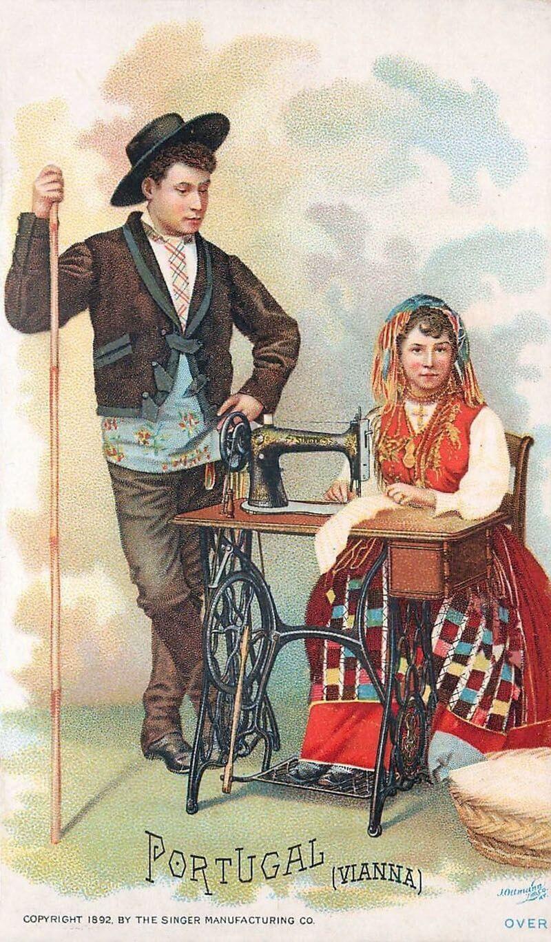 Португальцы в национальных костюмах. Рекламная карточка швейной машины Singer в 1892 году