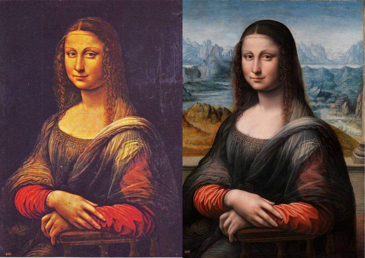Из школы Леонардо да Винчи «Ранняя копия «Моны Лизы» из Прадо» (до и после очищения в 2012 году)