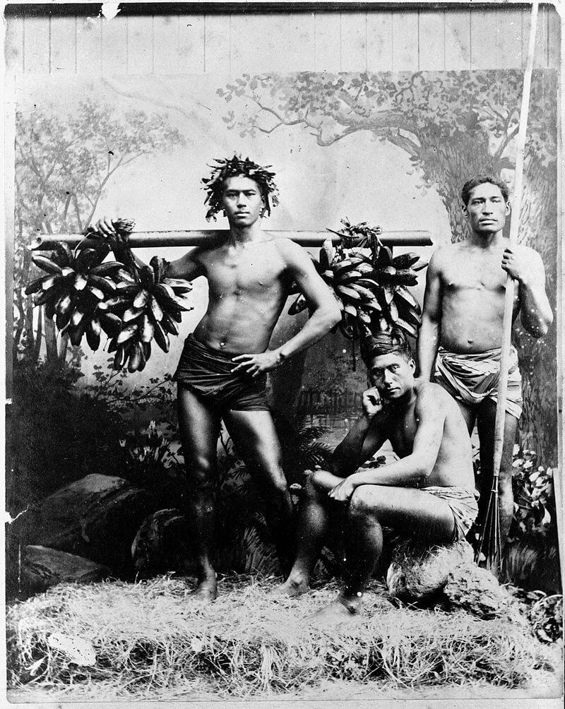 Собиратели диких бананов, Таити, 1887. Фотограф неизвестен.