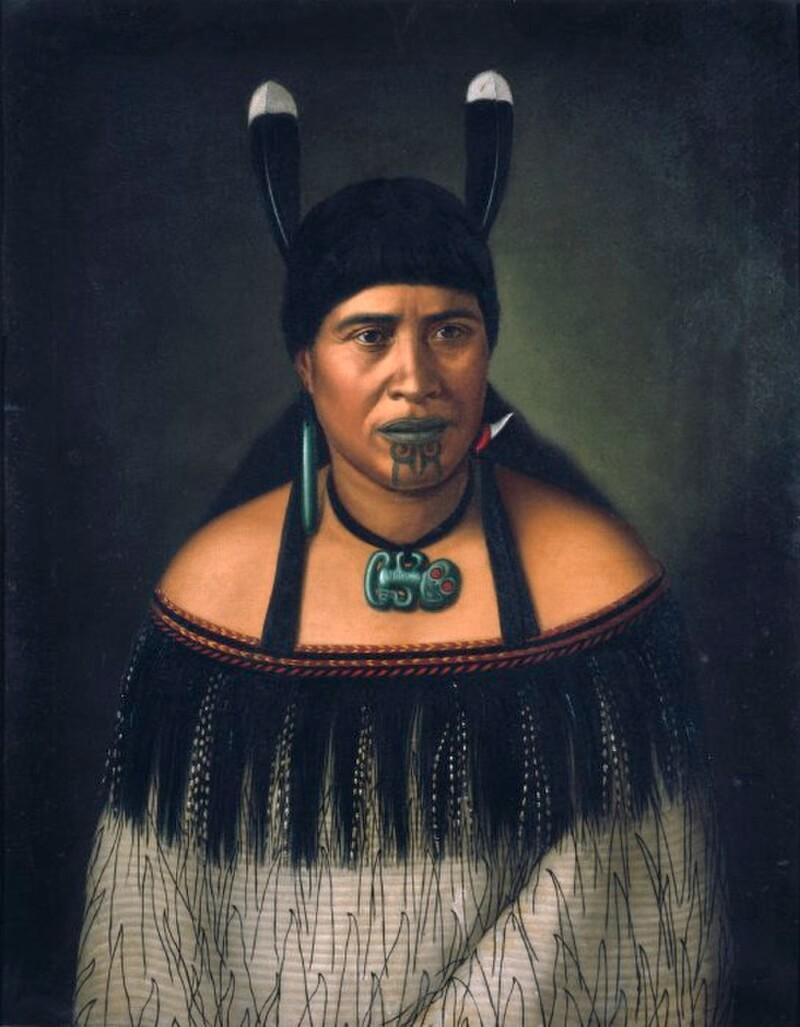 Женщина народа маори с татуировкой, 1890 г.