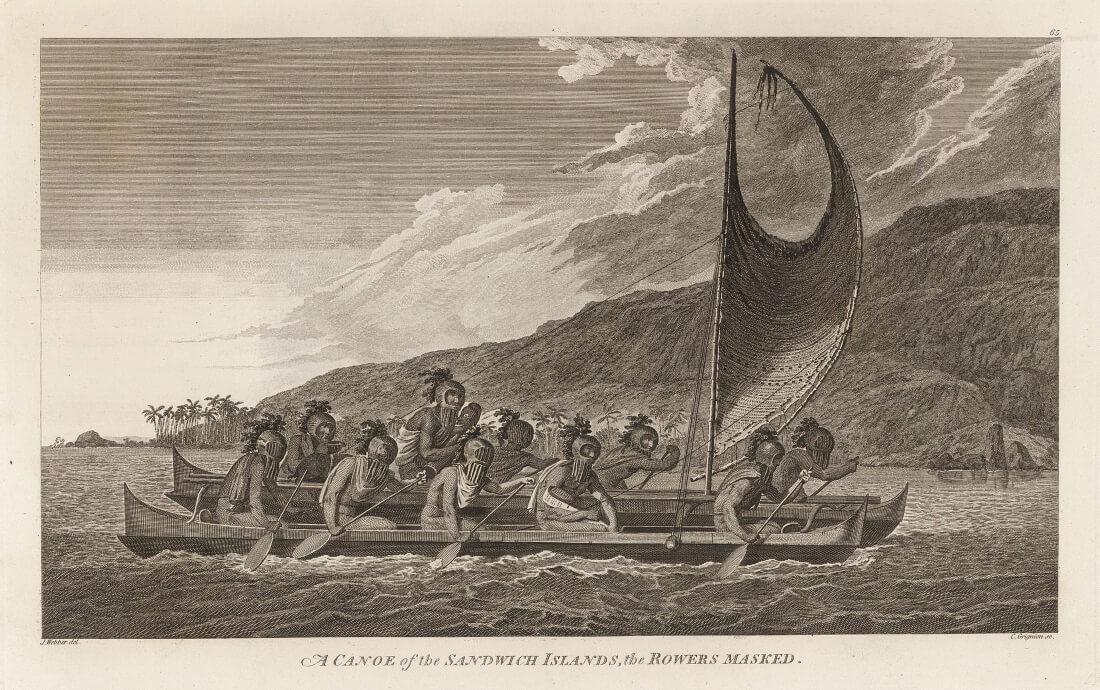 Жрецы, путешествующие через залив Кеалакекуа для ритуалов первого контакта.
