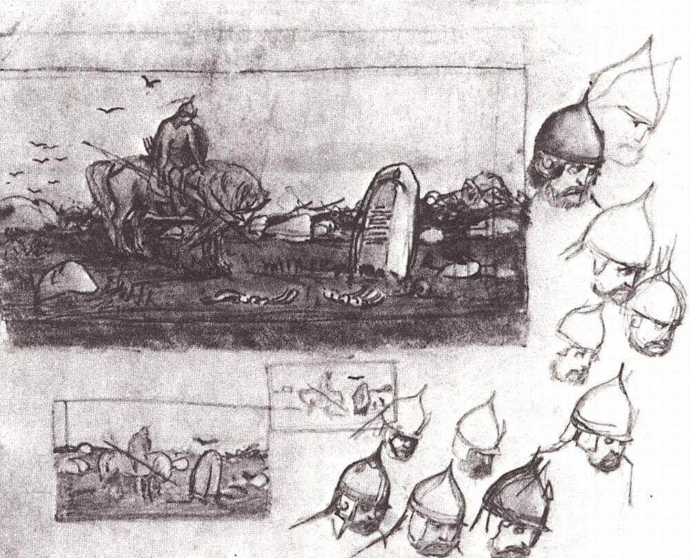 Черновые наброски Виктора Васнецова к картине «Витязь на распутье»