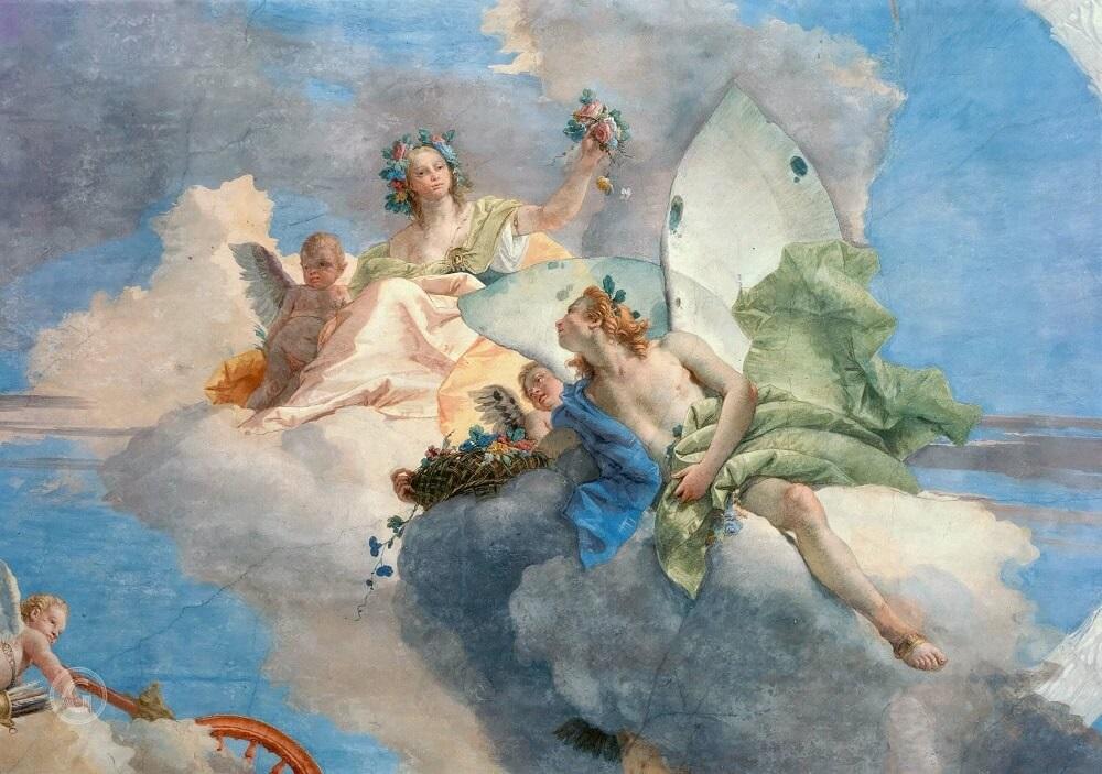 Флора и Зефир на фреске Аллегория весны Джованни Баттиста Тьеполо Палаццо Лабиа, Венеция