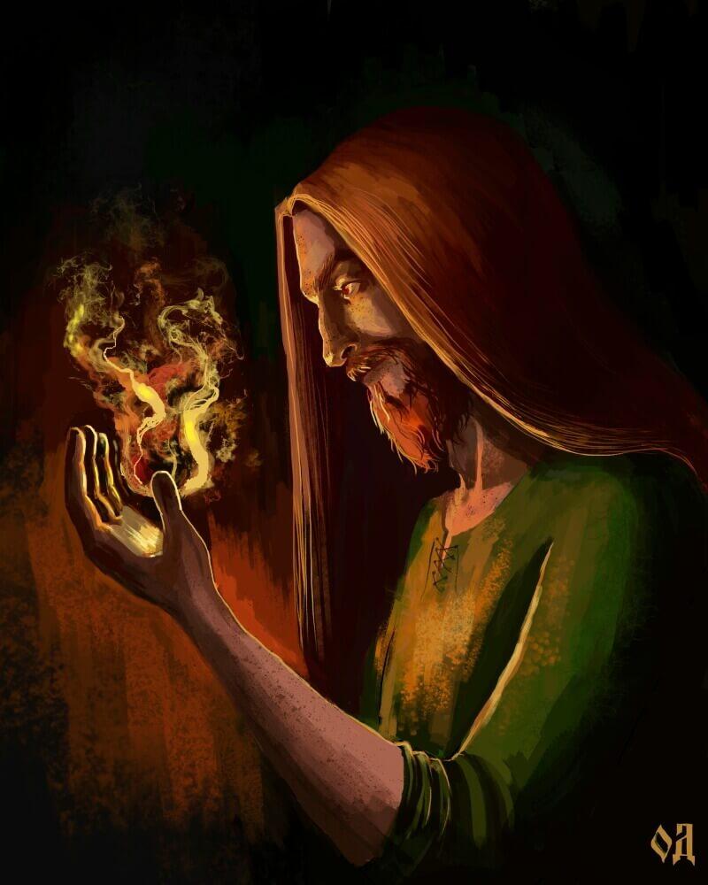 Локи — огненный бог в скандинавской мифологии / © Olga Demidova / wudgla.artstation.com