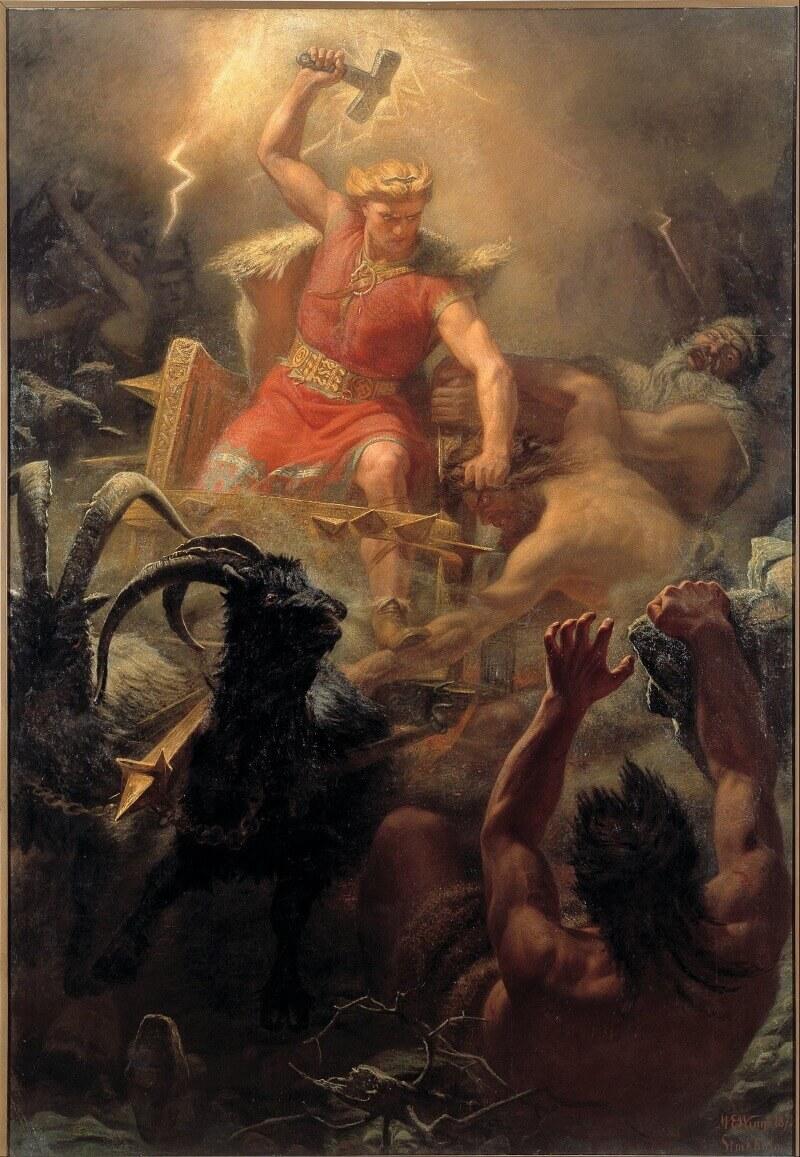 Мортен Эскиль Винге «Битва Тора с великанами», 1872 год