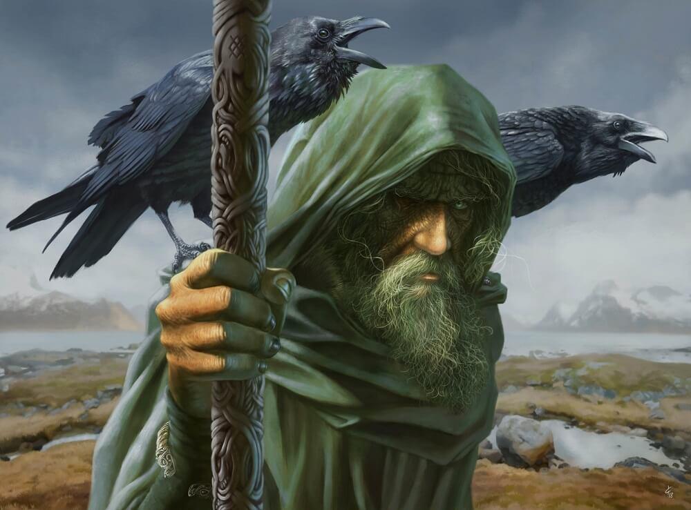 Один, с воронами Хугином и Мунином