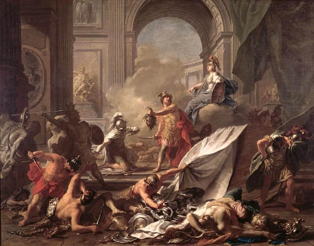 Персей, под защитой Минервы, превращает Финея в камень размахивая головой Медузы