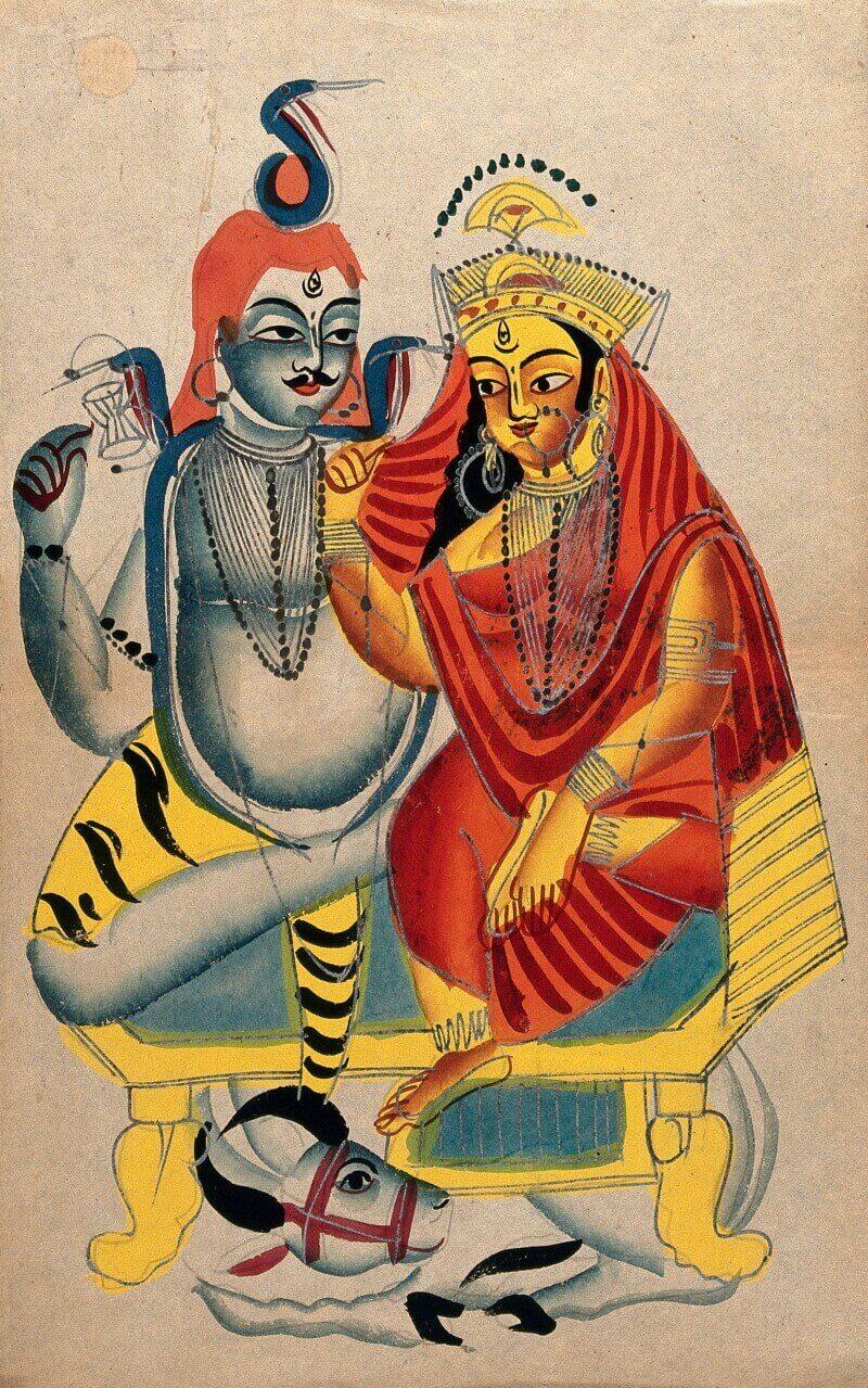 Шива и Парвати сидят на троне вместе с быком Нанди