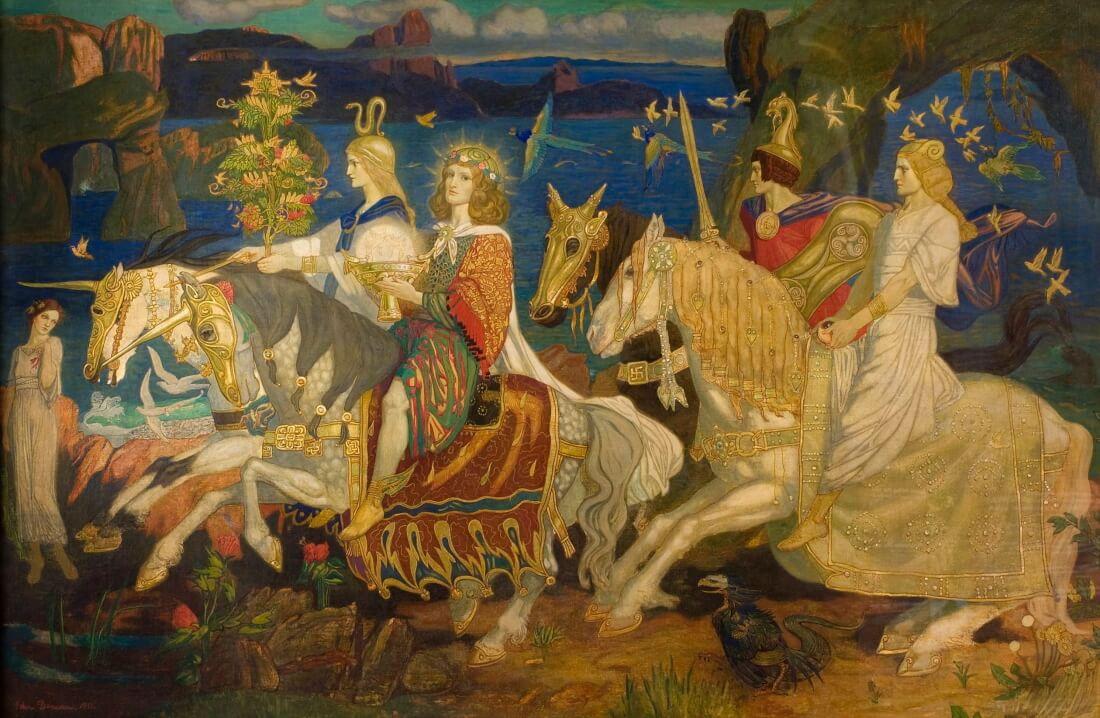 Шотландский художник Джон Дункан «Всадники сидов», XIX век