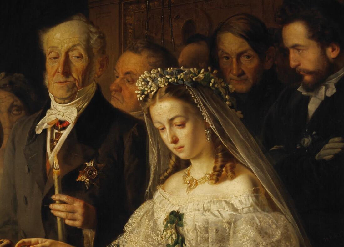 Справа Василий Пукирев в образе шафера на картине «Неравный брак»