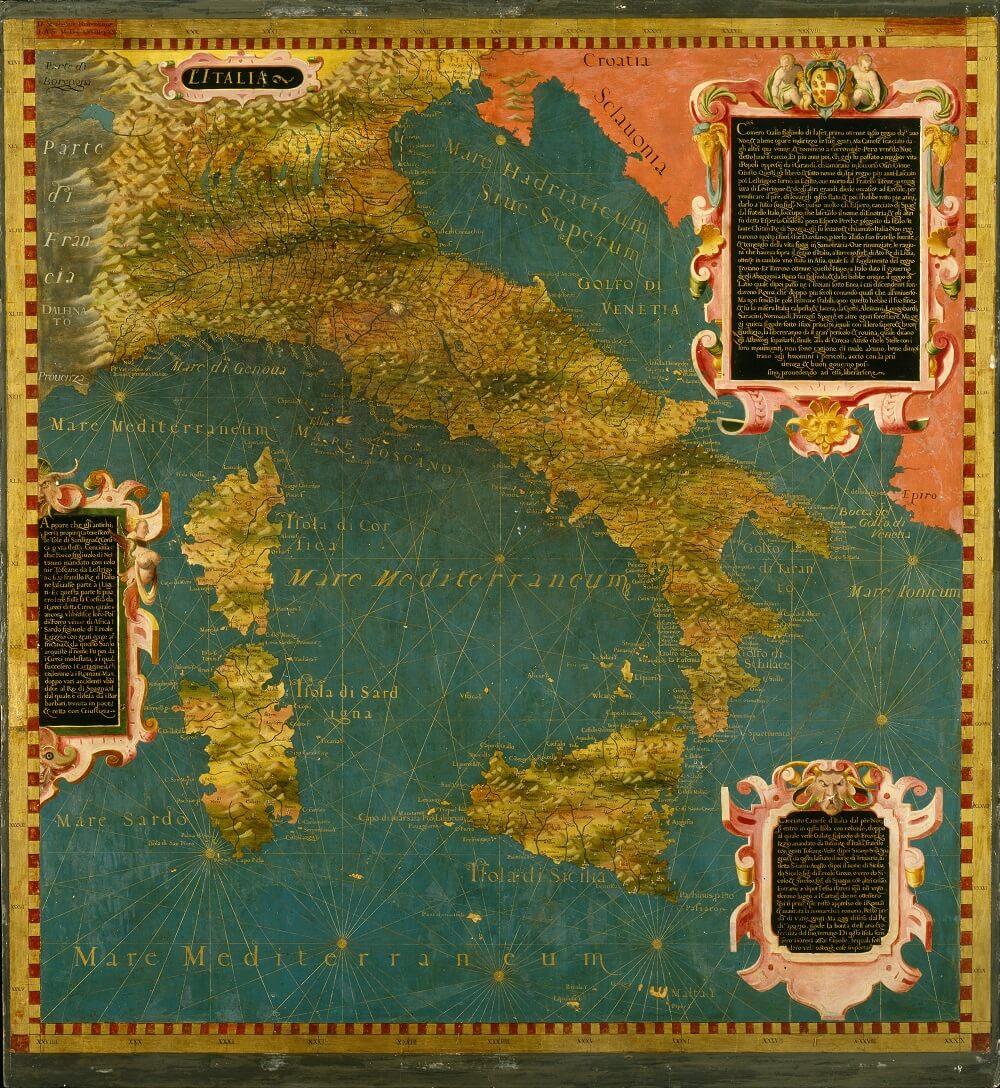 Старая карта Италии с Корсикой и Сардинией