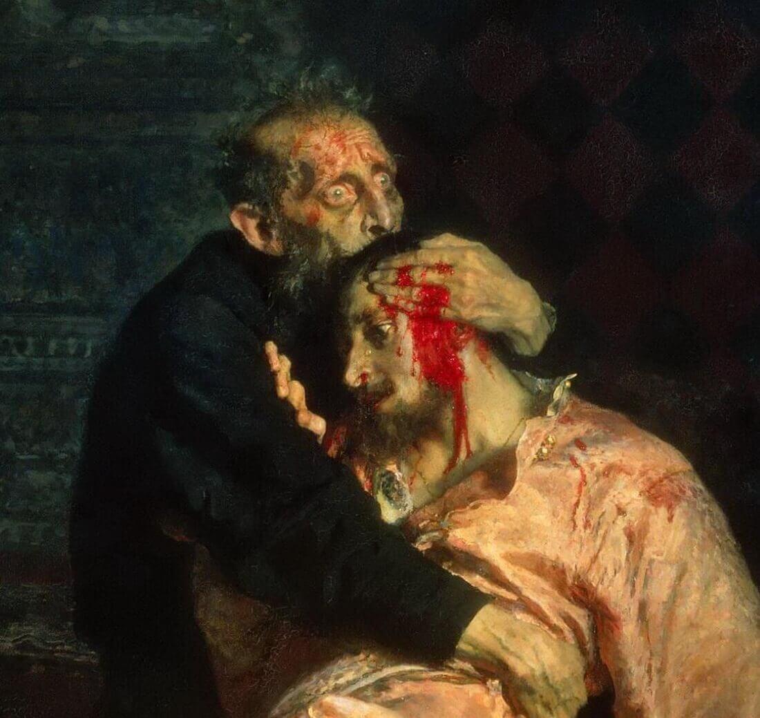 Царь Иван Грозный и его сын Иван, фрагмент картины