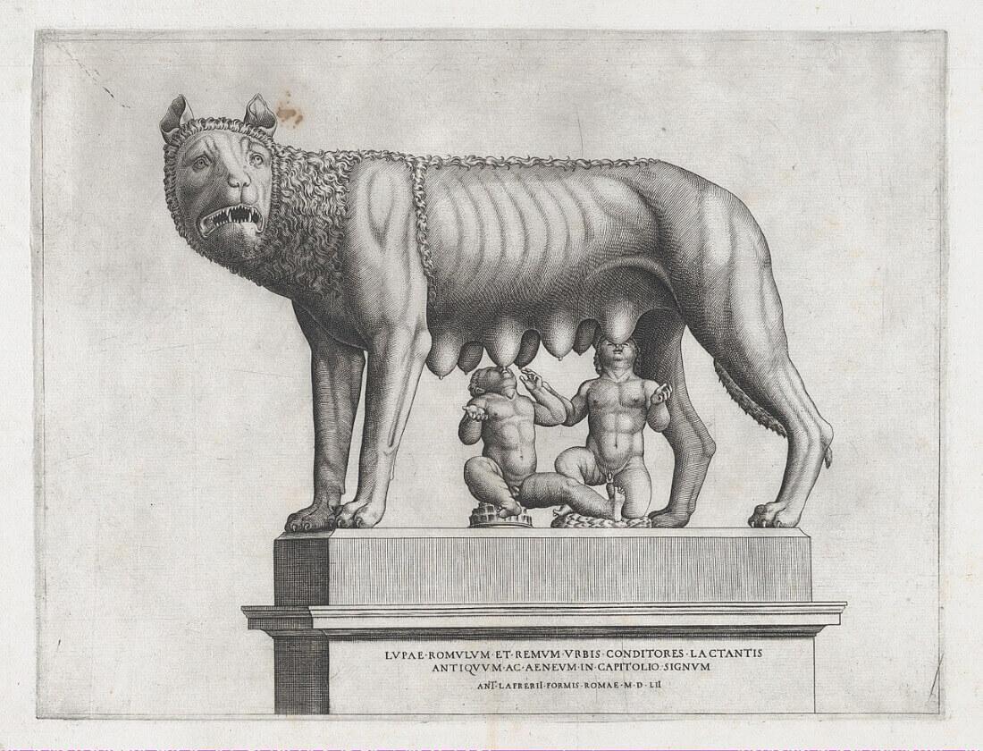 Антонио Лафрери «Капитолийская волчица, вскармливающая Ромула и Рема», гравюра середины XVI века