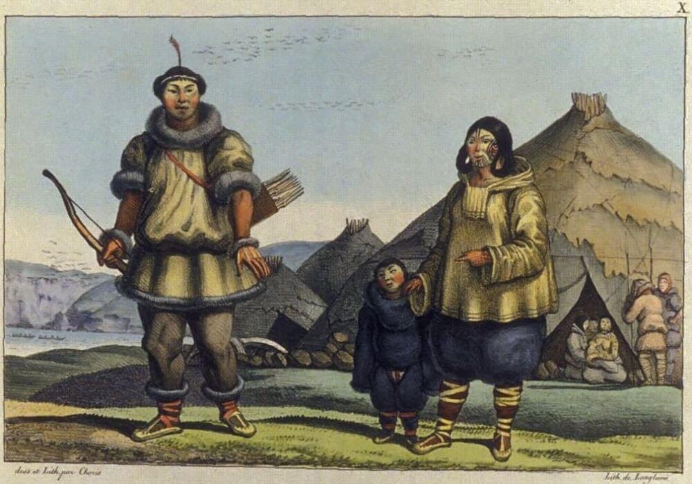 Чукотская семья перед своим домом. Логгин Андреевич Хорис Август 1818