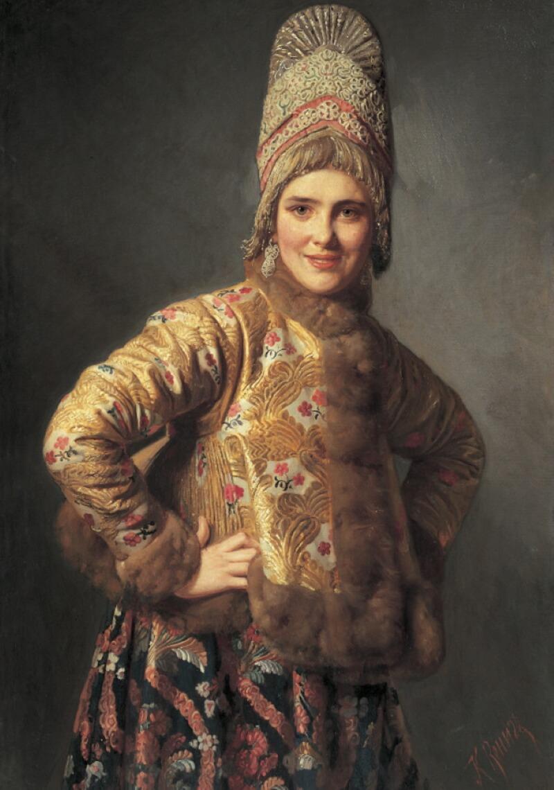 Карл Богданович Вениг «Портрет молодой женщины в традиционной одежде», 1889 год