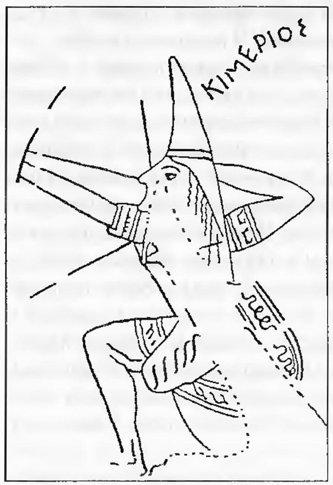 Изображение киммерийца на древнегреческой вазе, VII век до н. э.