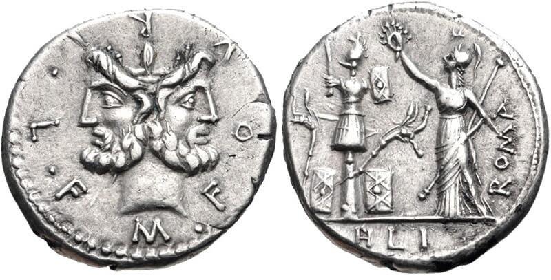 Марк Фурий Филус, динарий, 120 г. до н. э