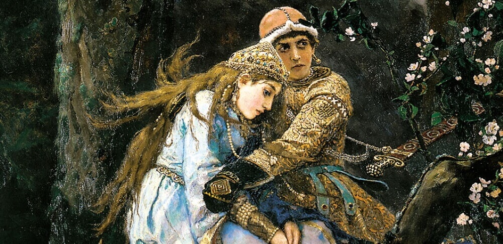 Образы Елены Прекрасной и Ивана-царевича, фрагмент картины