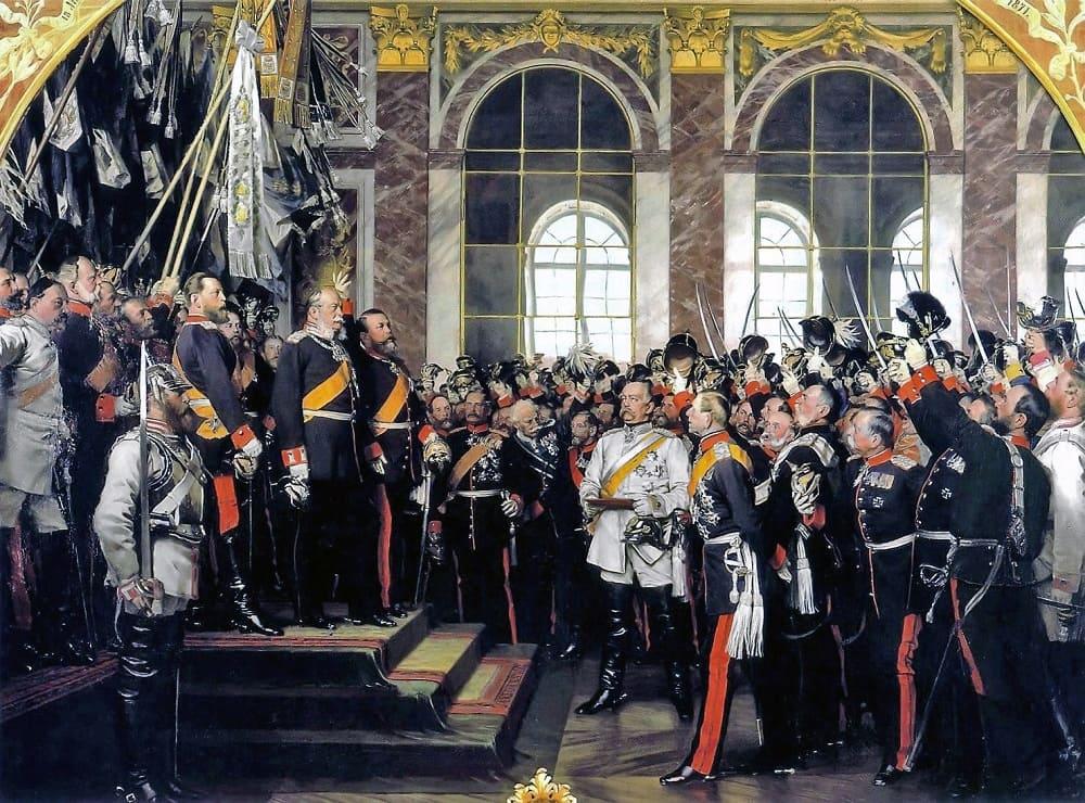 Антон фон Вернер «Провозглашение Германской империи в Зеркальной галерее Версальского дворца 18 января 1871 года»<br /> Местонахождение: Музей Бисмарка во Фридрихсру,