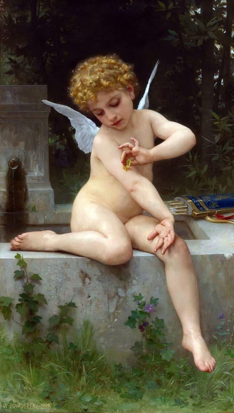 Адольф Уильям Бугро «Купидон с бабочкой», 1888 год Местонахождение: Коллекция Фреда и Шери Росс (Art Renewal Center), Нью-Джерси, США.