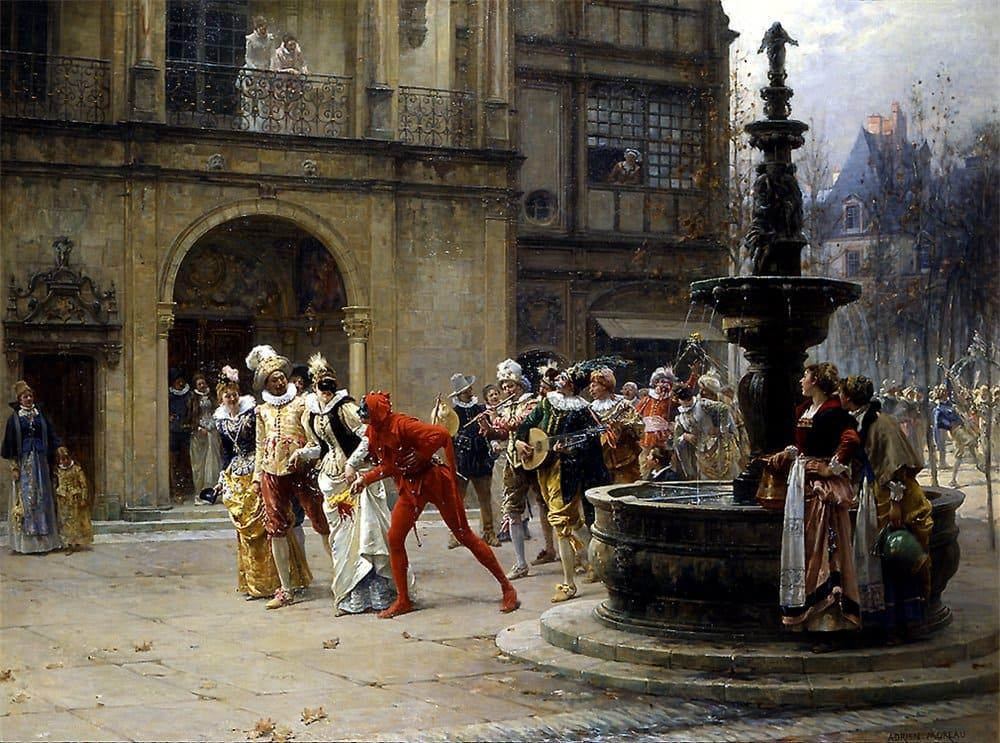Адриен Моро «Маскарад в XVII Век», 1887 год