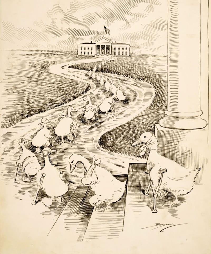 Карикатура на конгрессменов-демократов, проигравших очередные выборы / © Клиффорд Бэрримен, 1915 год