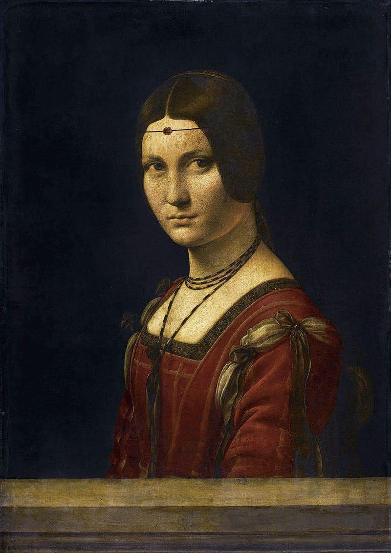 Леонардо да Винчи «Прекрасная Ферроньера», 1490-е, предположительно портрет Лукреции Кривелли