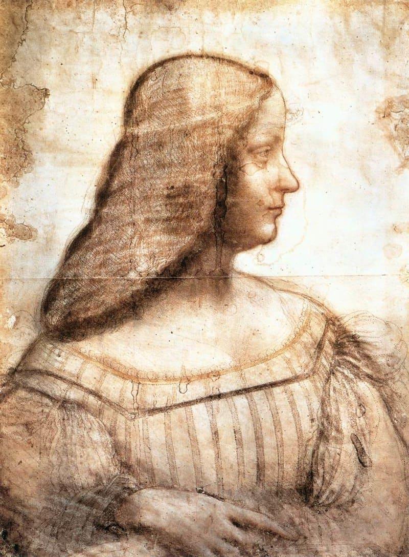 Леонардо да Винчи «Изабелла д'Эсте», эскиз к неосуществлённому портрету, 1499 год