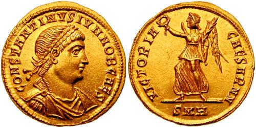 Виктория на реверсе золотой монеты времён Константина II