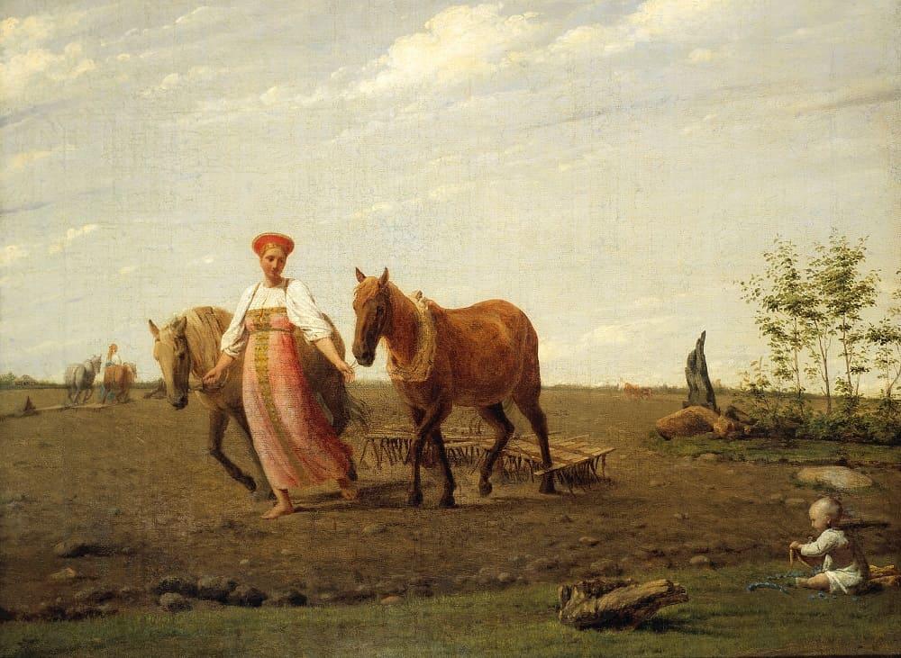 Алексей Венецианов «На пашне», первая половина 1820-х Местонахождение: Государственная Третьяковская галерея, Москва