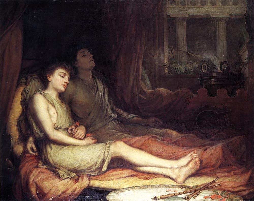 Джон Уильям Уотерхаус «Сон и брат Смерть», 1874 год Местонахождение: Частная коллекция