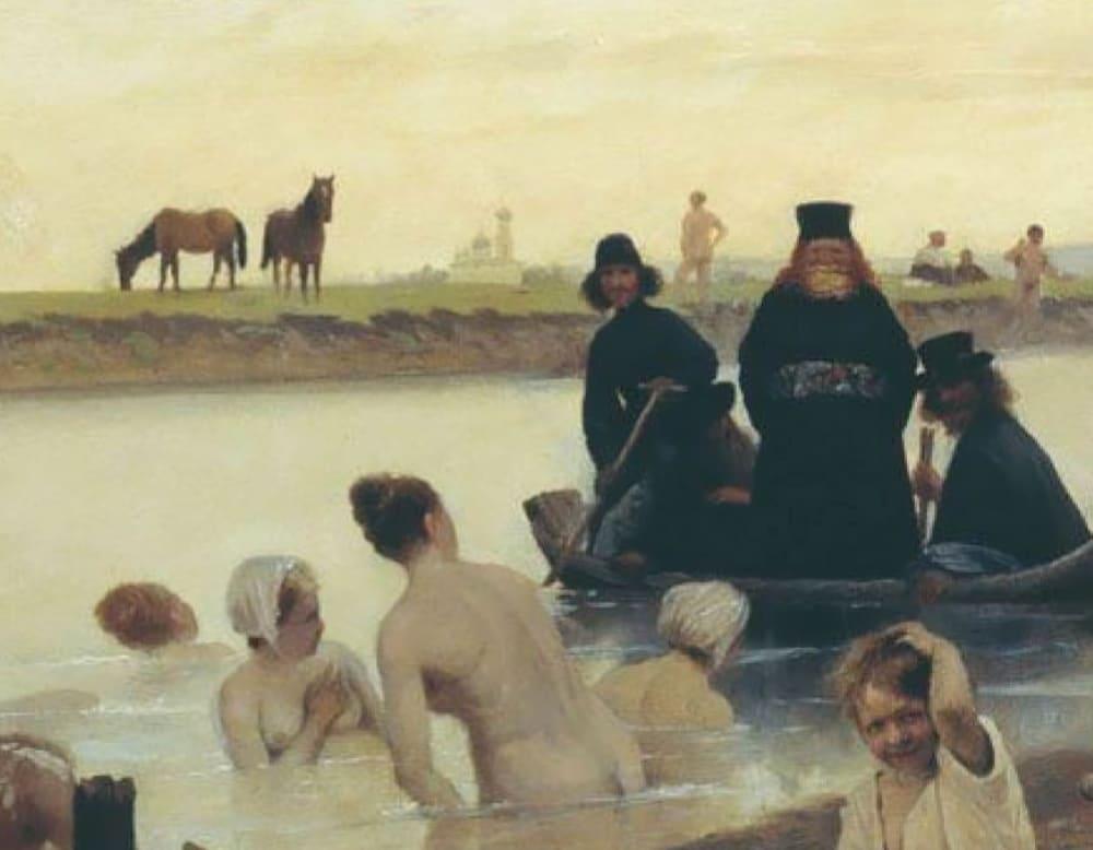 Фрагмент картины Льва Соловьева «Монахи. Не туда заехали»