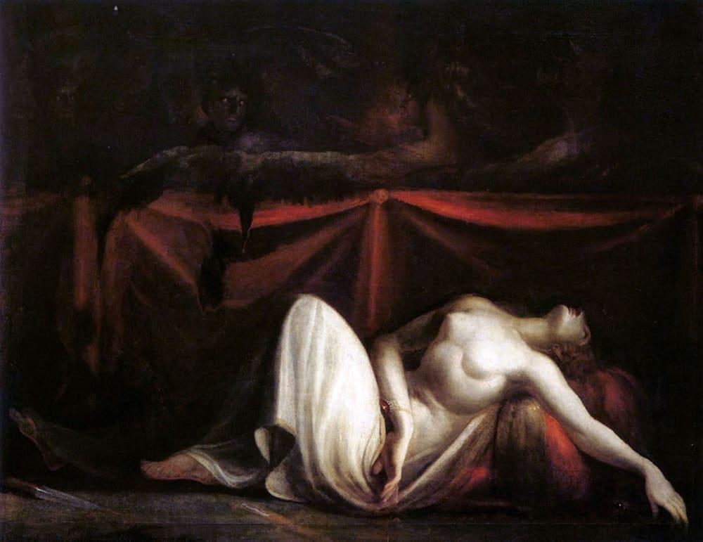 Генри Фюзели «Эринии изгоняют Алкмеона из трупа его Матери, Эрифилы, которую он убил», 1821 год Местонахождение: Кунстхаус, Цюрих, Швейцария