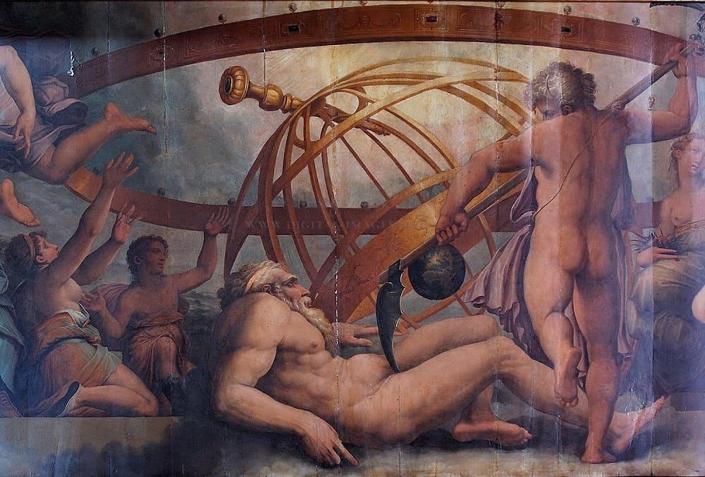 Giorgio Vasari «Кронос оскопляет Урана», XVI век Местонахождение: Палаццо Веккьо, Флоренция, Италия