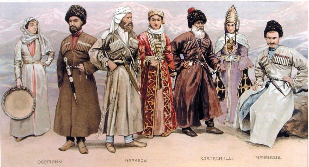 «Народы Кавказа» русская литография, конец XIX века