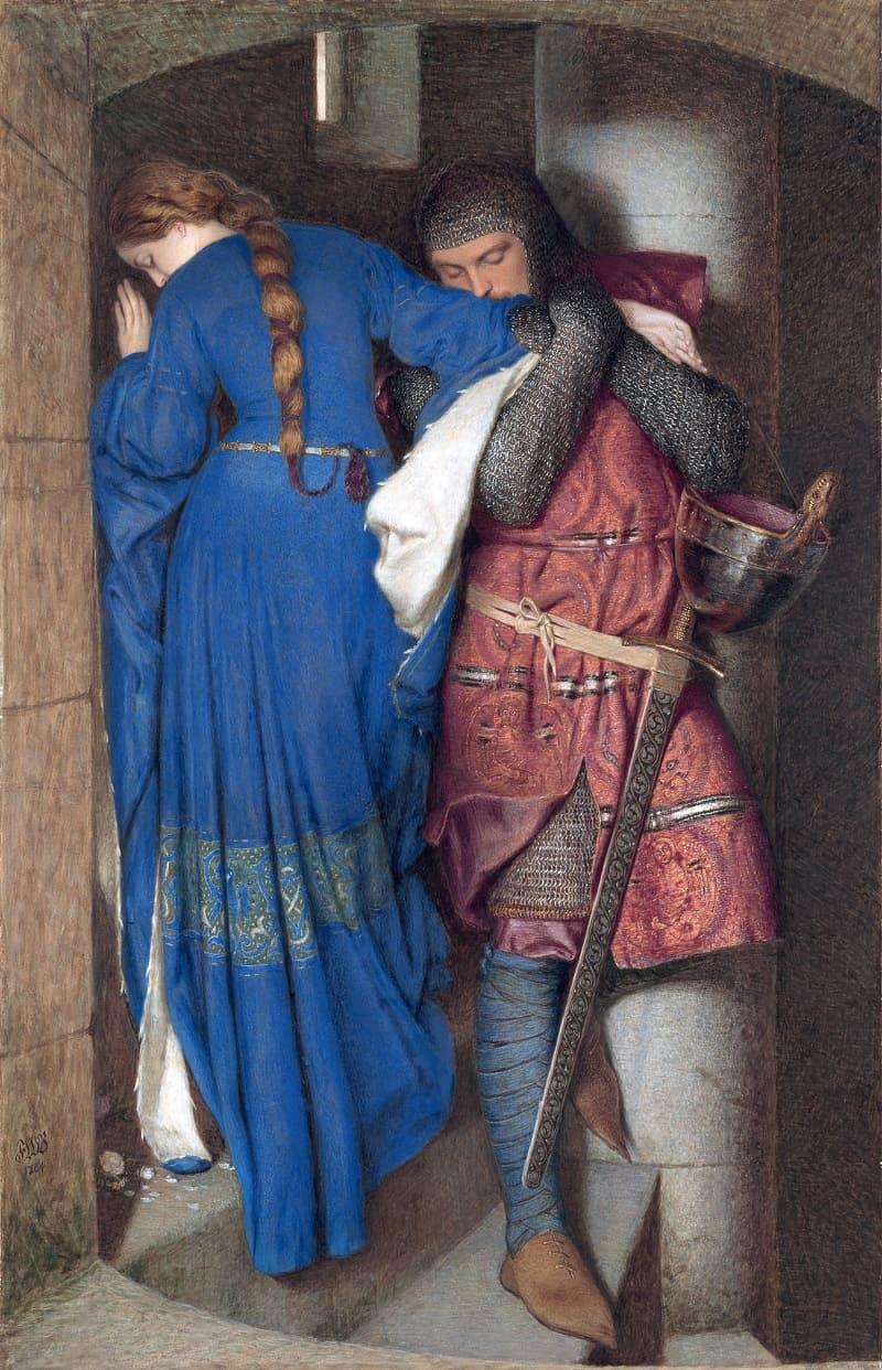 Фредерик Уильям Бёртон «Встреча Хеллелиль и Гильдебранта на лестнице туреля» Местонахождение: Национальная галерея Ирландии, Дублин