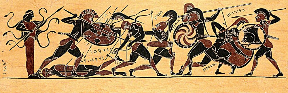 Битва за тело Ахилла. Аякс в левой части побеждает Главка. Изображение на древнегреческой вазе (ныне утерянной) 540—530-х годов до н. э