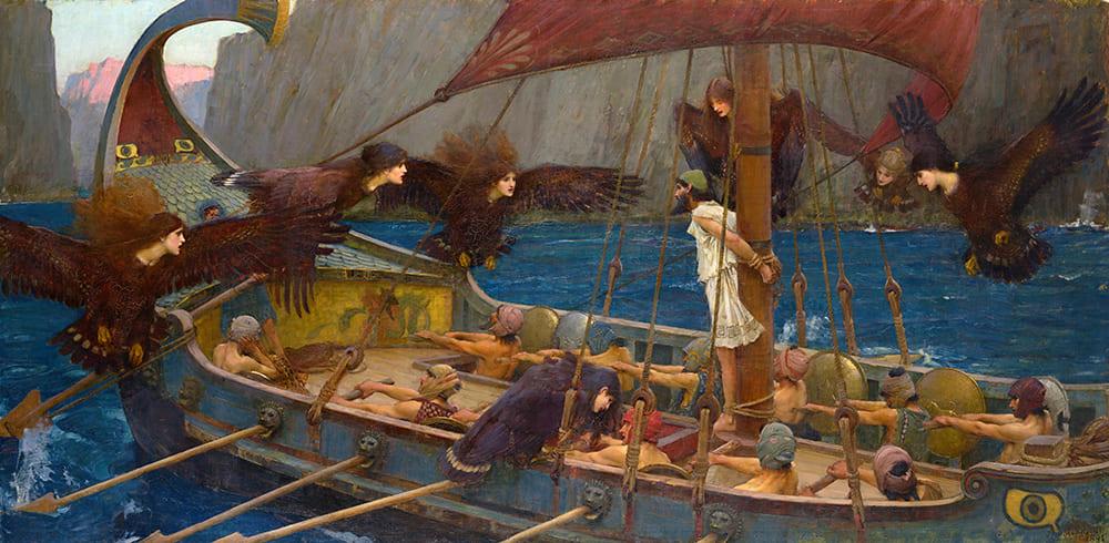 Джон Уильям Уотерхаус «Одиссей и сирены», 1891 г. Местонахождение Национальная галерея Виктории, Мельбурн, Австралия
