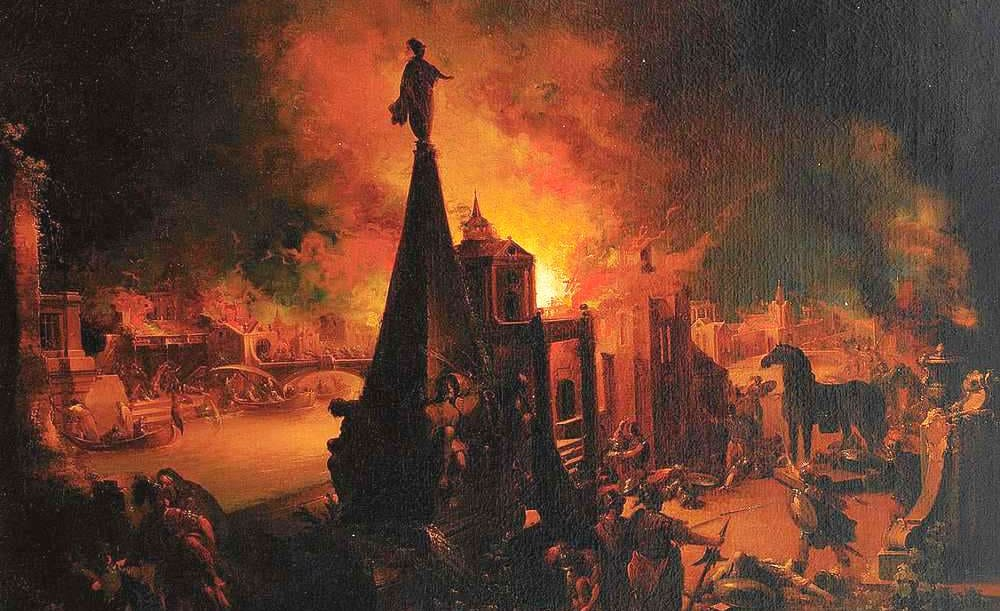 Иоганн Георг Траутманн, «Вид на горящую Трою» Местонахождение: частная коллекция, Карлсруэ, Германия