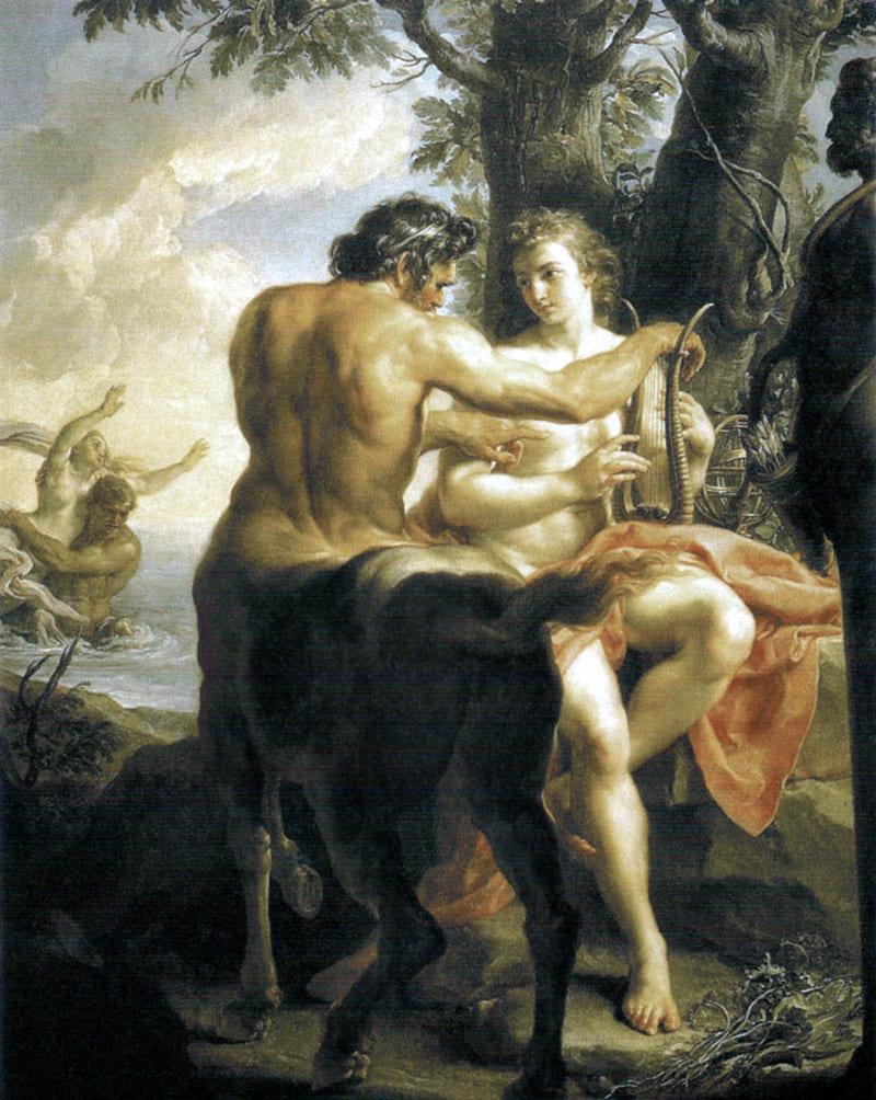 Батони Помпео «Кентавр Хирон, обучающий Ахилла», 1770-е годы Местонахождение: Галерея Уффици, Флоренция